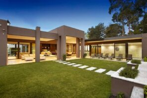 Great Ways to Upgrade Your Yard. Supermodern house with columns and squared forms