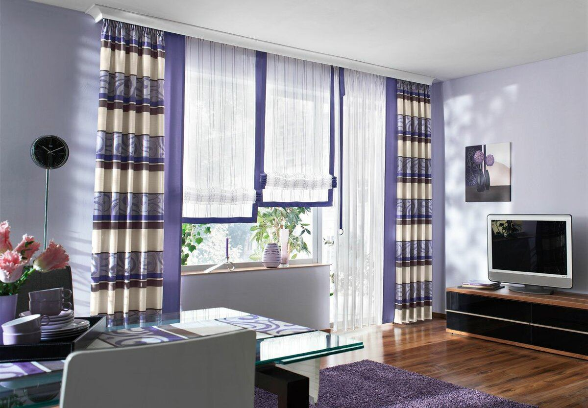 Curtains Rods: Types, Production Materials, Fastening Overview. Purple curtains