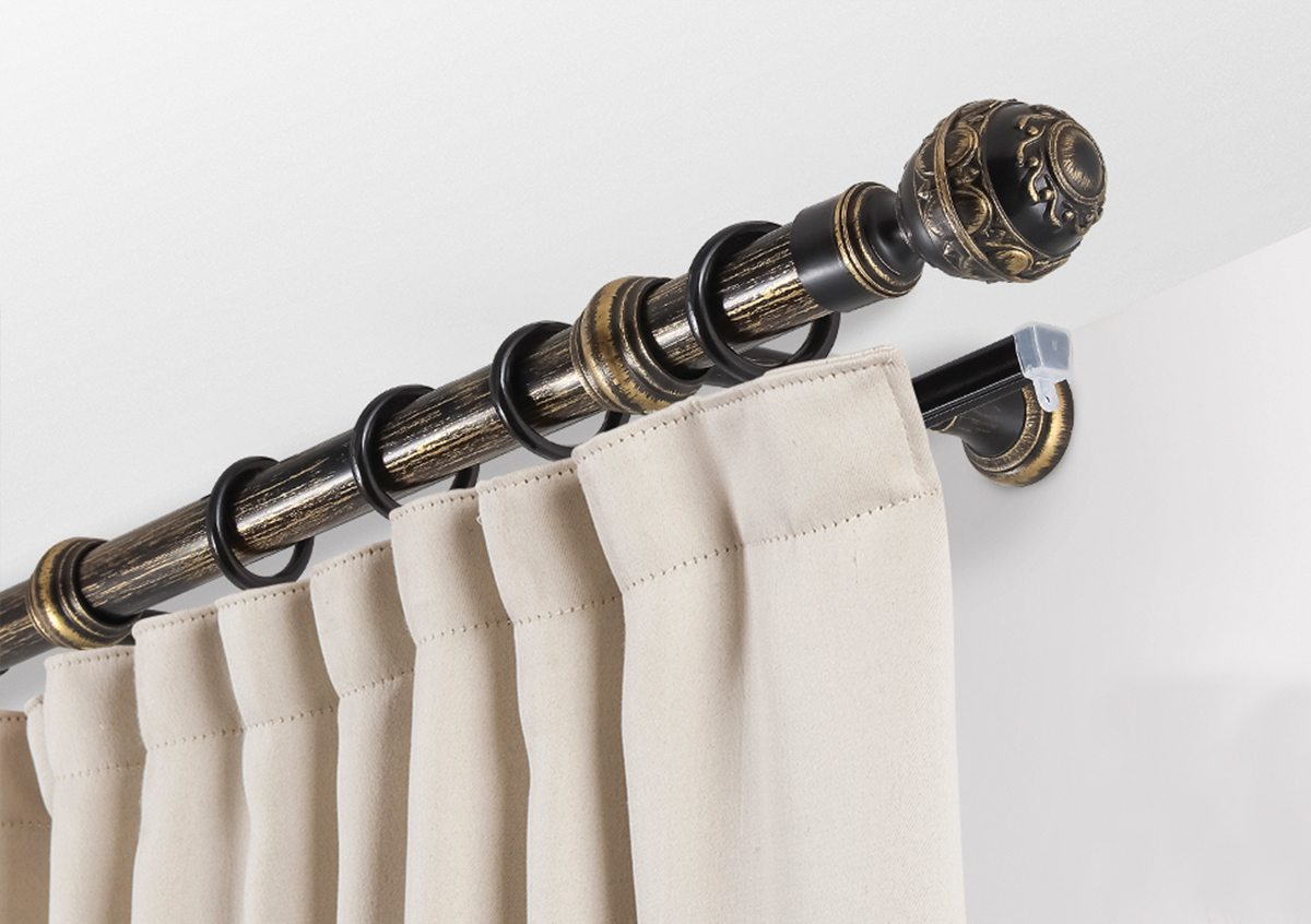 Curtains Rods: Types, Production Materials, Fastening Overview. Plastic kernel with ring fastenings