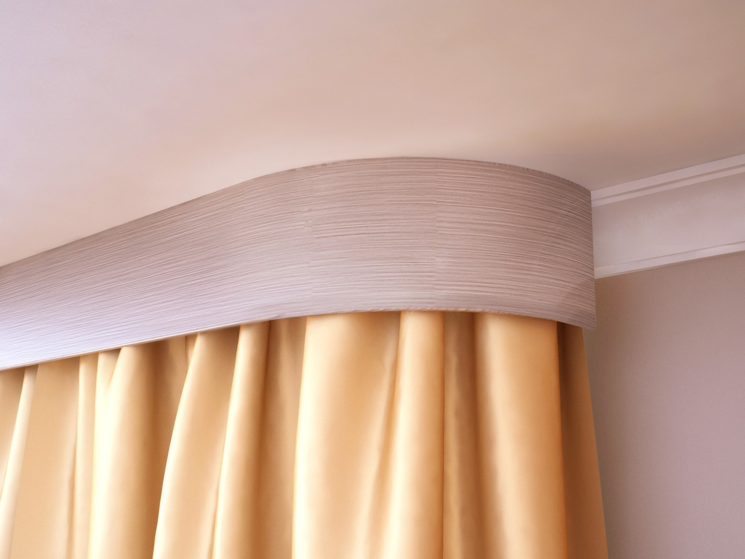 Rounded cornice and peach colored curtain
