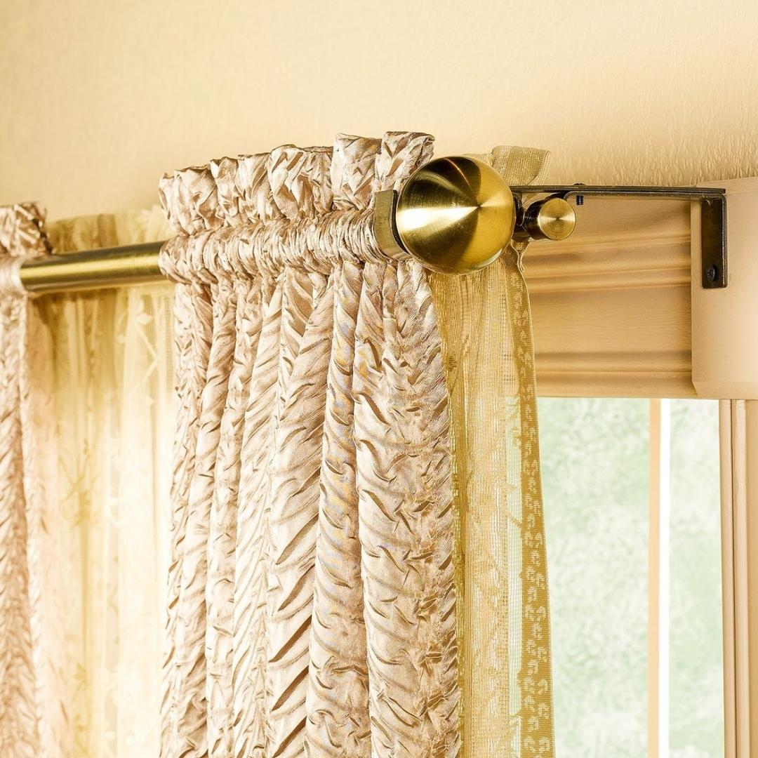 Curtains Rods: Types, Production Materials, Fastening Overview. Two-rod execution with golden color