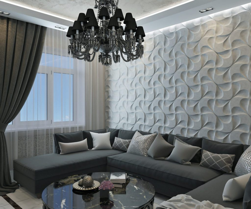 3D structure at the accent wall and large corner sofa