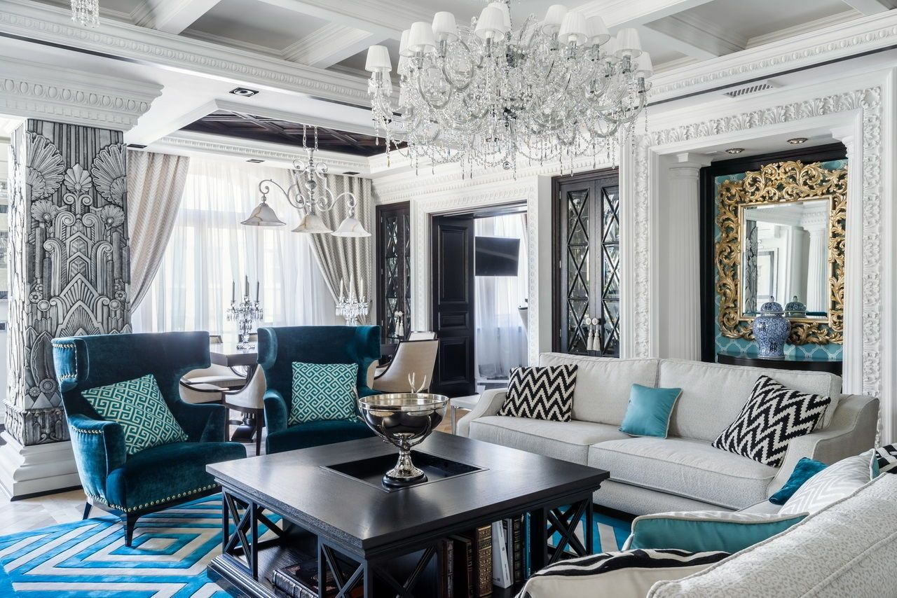 Crystal chandelier and dark wooden coffee table with recess for amazing Art Deco interior with coffered ceiling