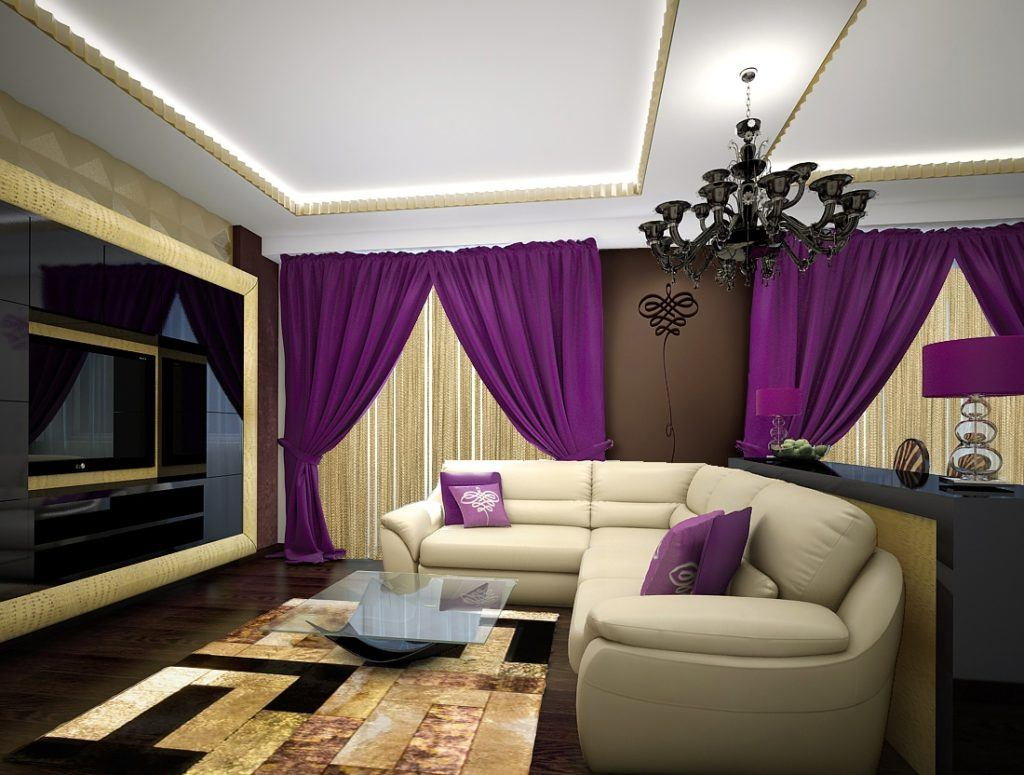 Purple curtains for dark colored interior with black accent wall