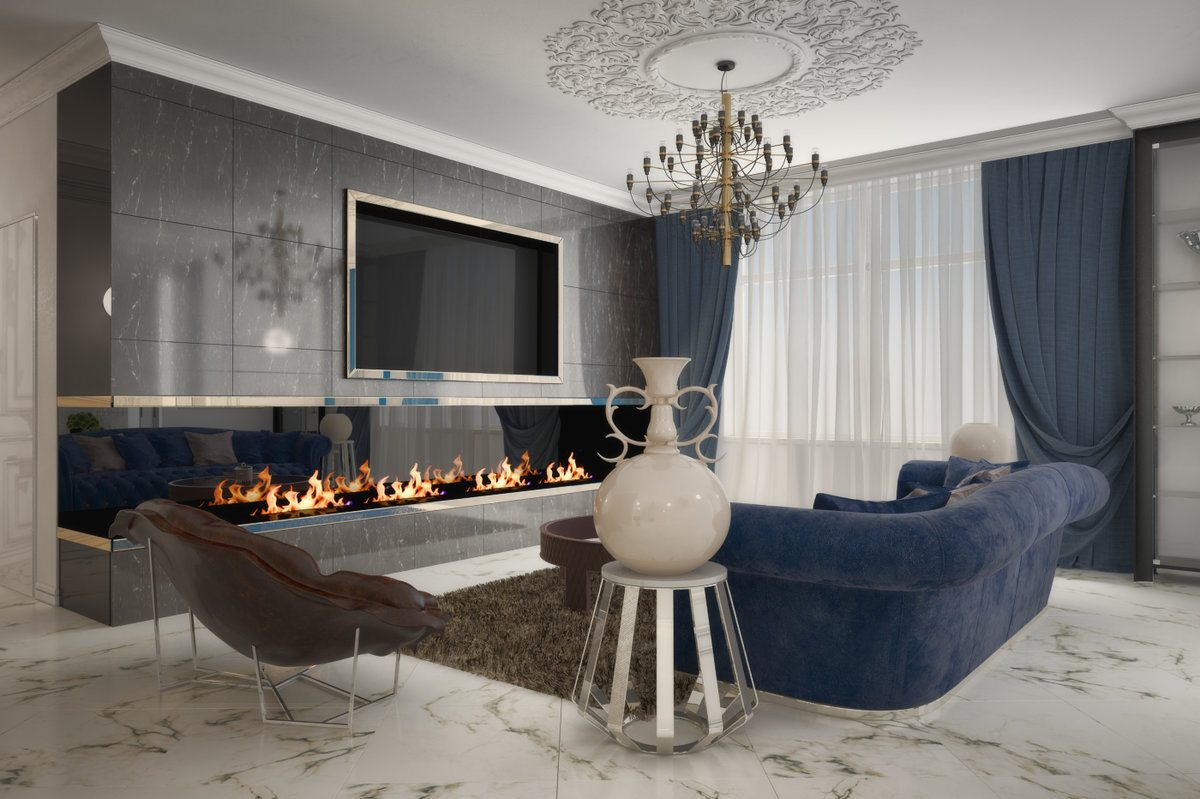 Masterfully decorated Art Deco living room with artificial fireplace at the length of the accent wall