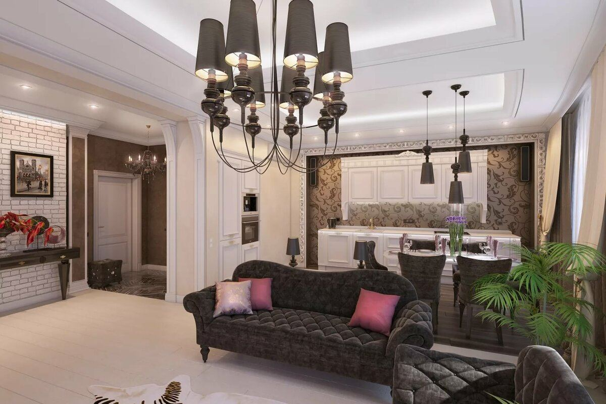 Casual designed living room with dark sofa and chandelier