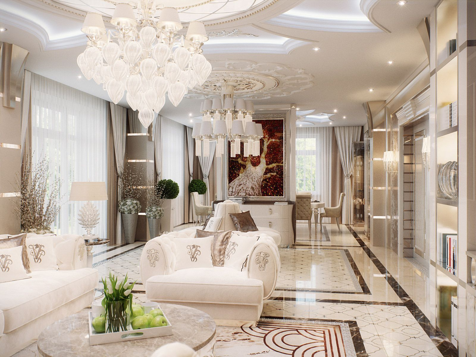 Great looking Art deco living with marble floors and complex white ceiling