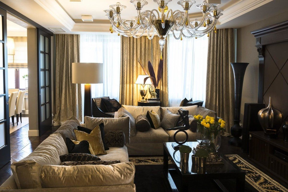Calming classic interior design of the Art Deco living with grayish curtains and dark furniture