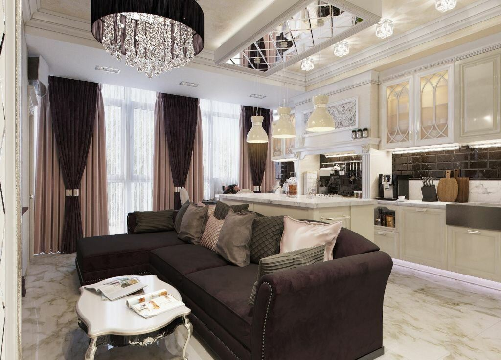Unusual combination of led lighting of the ceiling with black shaded crystal chandelier for large living with dark accents