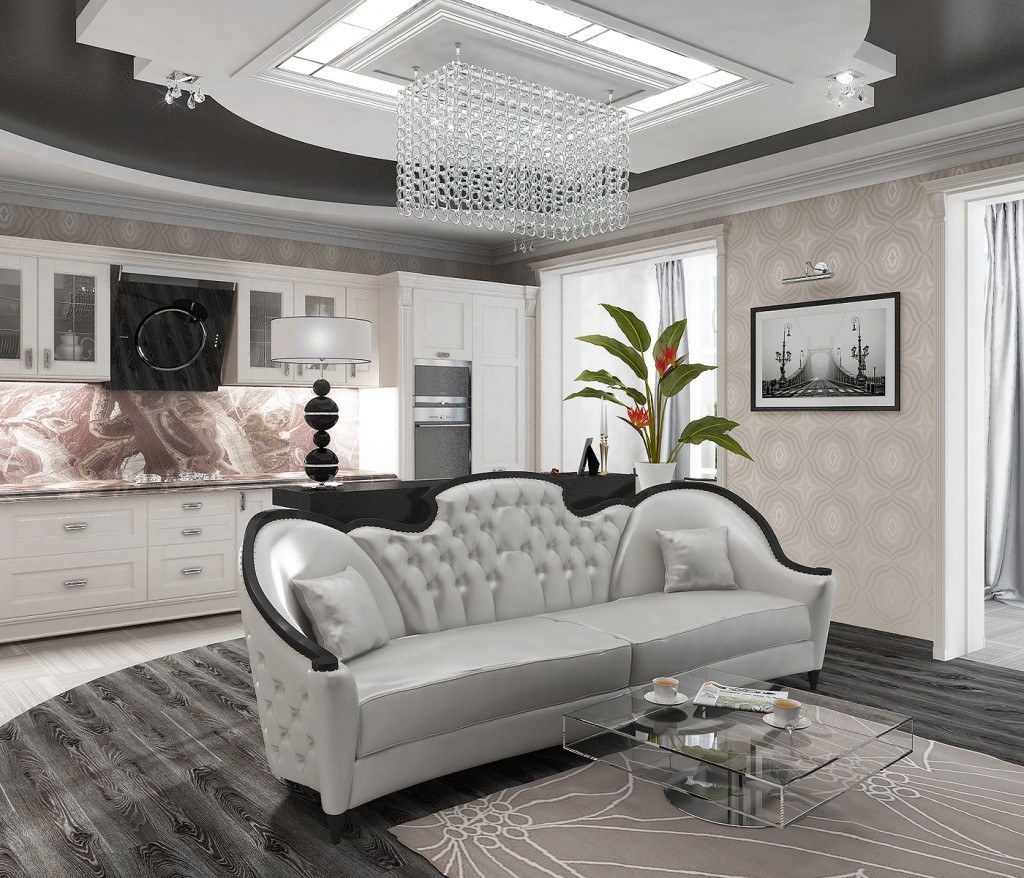 Art Deco Living Room Interior Design Ideas. Chic central quilted sofa and large grandeur crystal chandelier over it