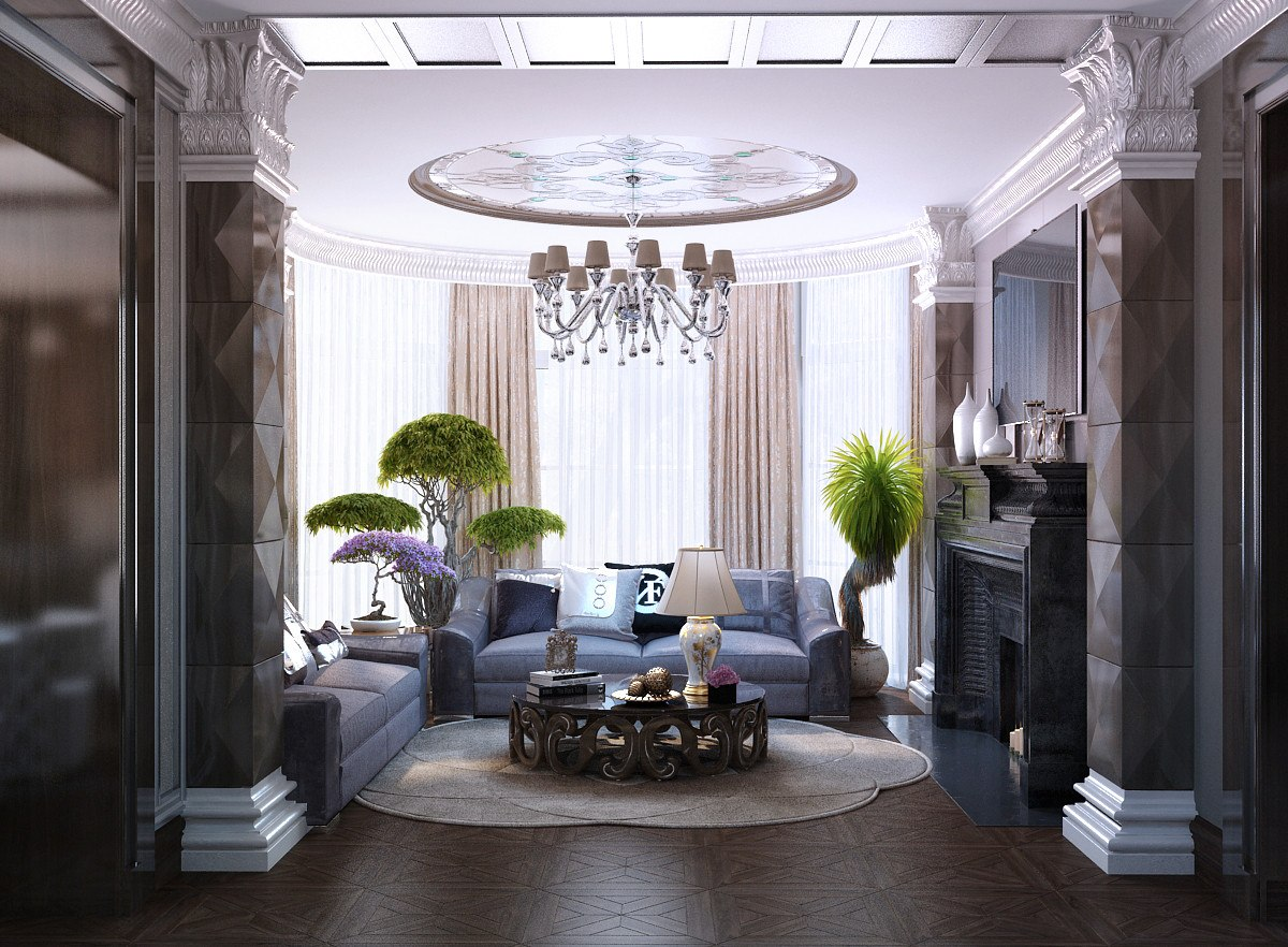 Art Deco Living Room Interior Design Ideas. Round ceiling composition and the chatting island below