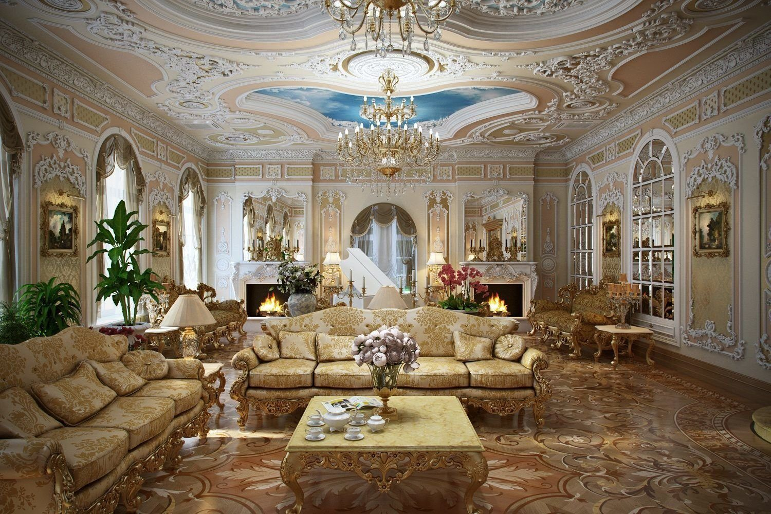 Baroque Living Room: Tips for Creating Chic Room at Home. Wavy lined living with bright furniture and decorations with golden tint