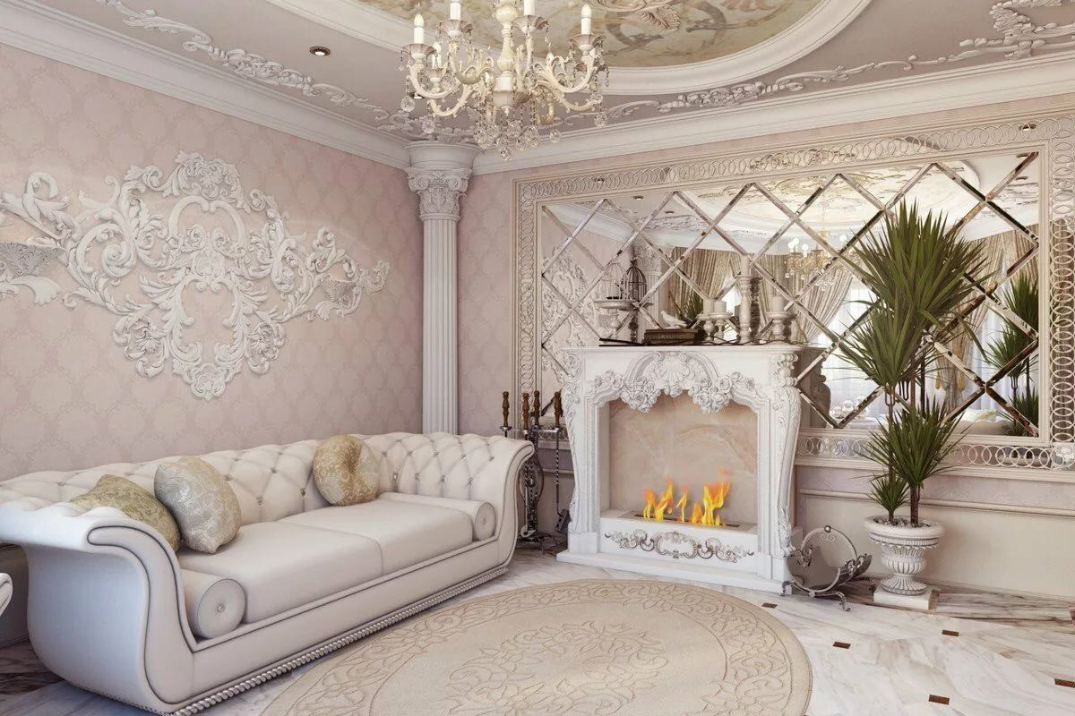 Baroque Living Room: Tips for Creating Chic Room at Home. Lamp chandelier and columns with mirror tiled around the fireplace