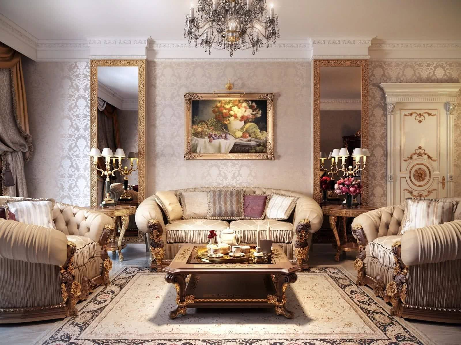 Fretwork, moldings and voluminous upholstered furniture