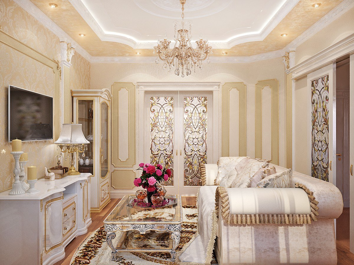Golden and creamy beige color theme for Baroque living room