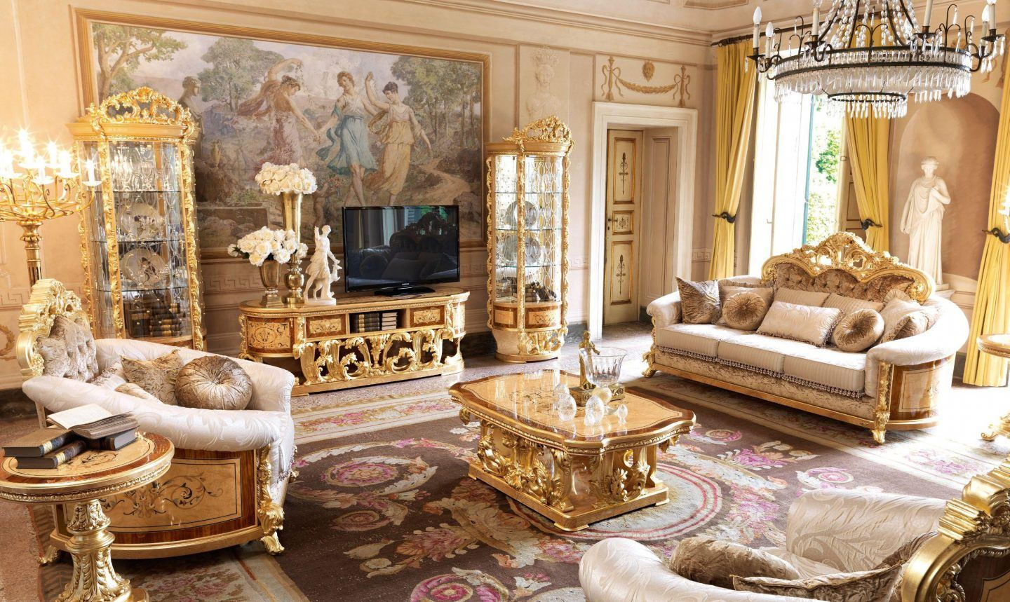 Great example of royal and pompous interior decoration with golden inlays and furniture in the living