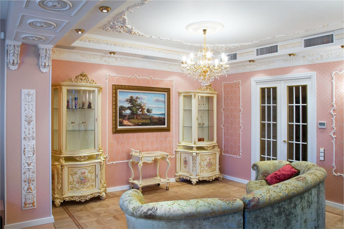 Baroque Living Room: Tips for Creating Chic Room at Home. Unusual creamy pink walls and white ceiling in the living with cozy relaxing zone