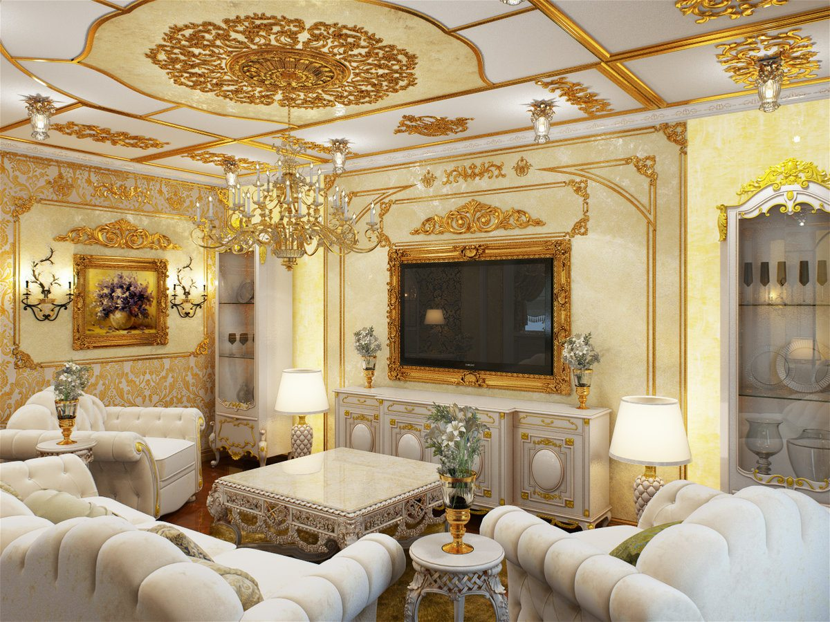 Baroque Living Room: Tips for Creating Chic Room at Home. Golden stucco in the grandeur space