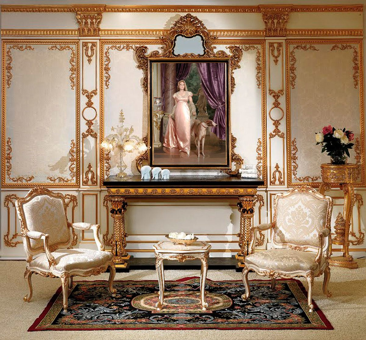 Baroque Living Room: Tips for Creating Chic Room at Home. Artificial fireplace and decorative gilded fretwork
