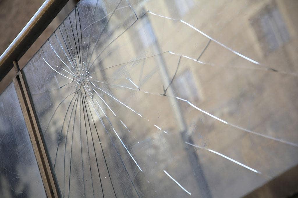 Cracked into splinters window