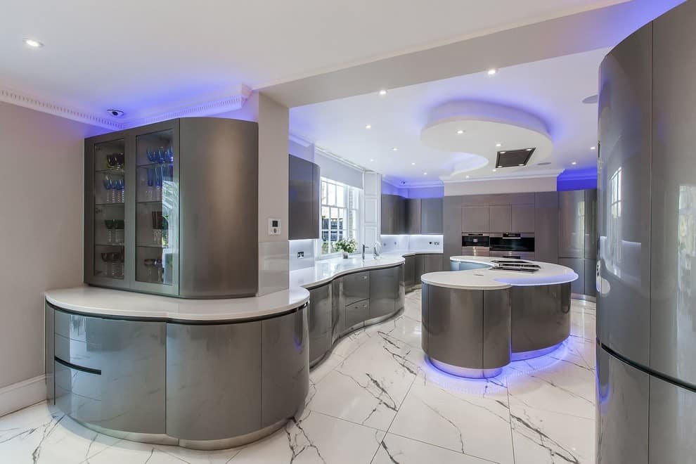 Blue neon perimeter lighting for the curved kitchen set