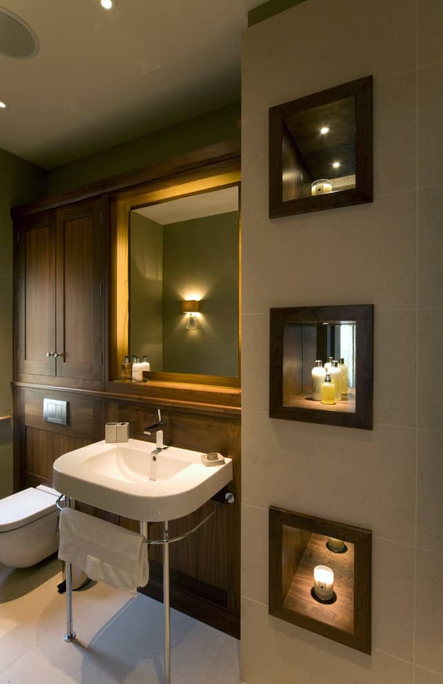LED lighting of the mirror for noble wooden trimmed bathroom