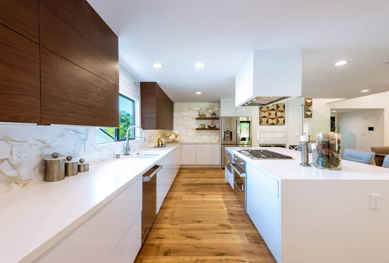 3 Reasons To Consider Building Custom. Contemporary kitchen of natural materials in white and dark brown color scheme