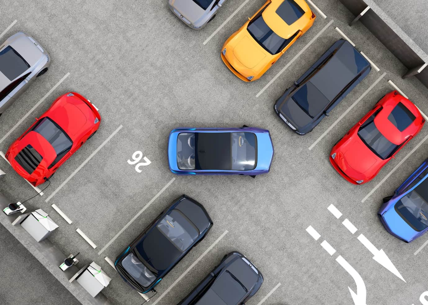 A Simple Guide to Parking Lot Design. Top view of the parking place at the building