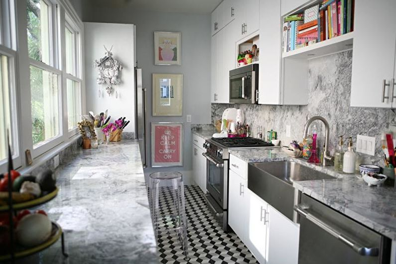 Narrow Kitchen Design Features and Modern Decoration Solutions. Mosaic tile at the cooking zone