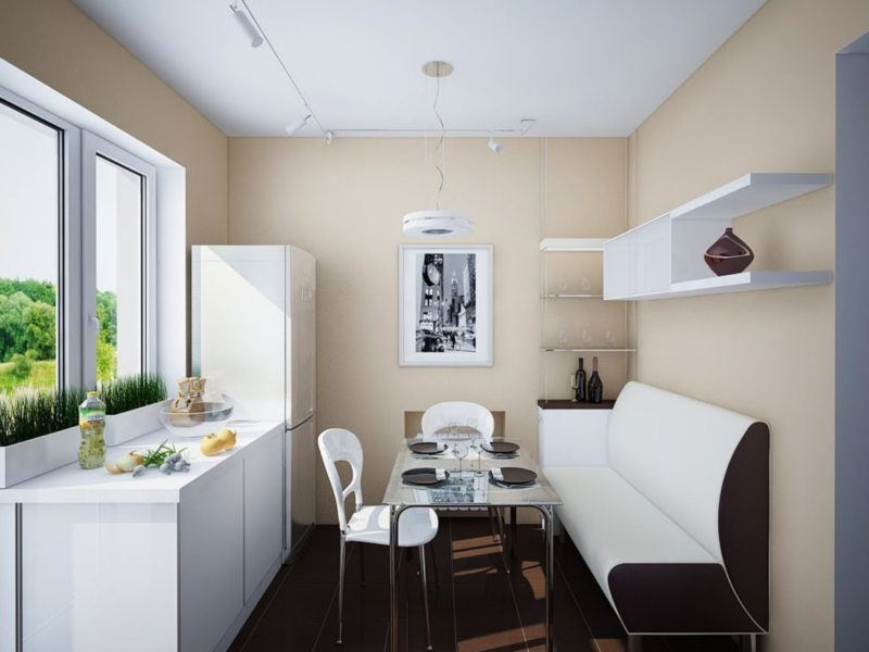 Narrow Kitchen Design Features and Modern Decoration Solutions. Beige walls