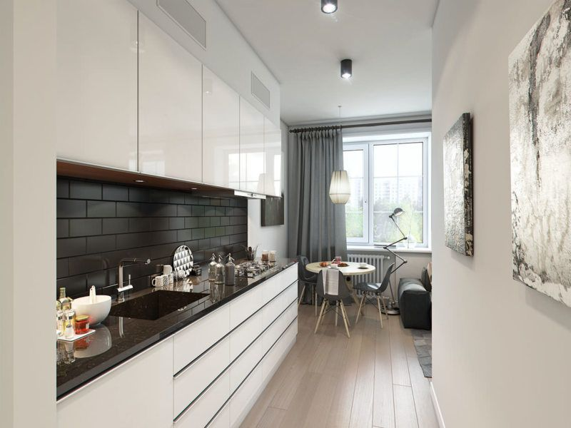 Narrow Kitchen Design Features and Modern Decoration Solutions. Cocoa with milk color scheme in the room