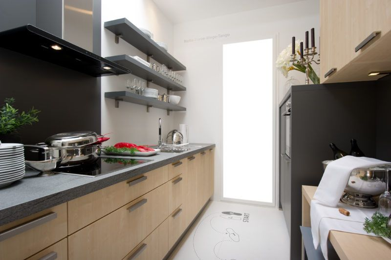Ultramodern designed narrow kitchen with color mix