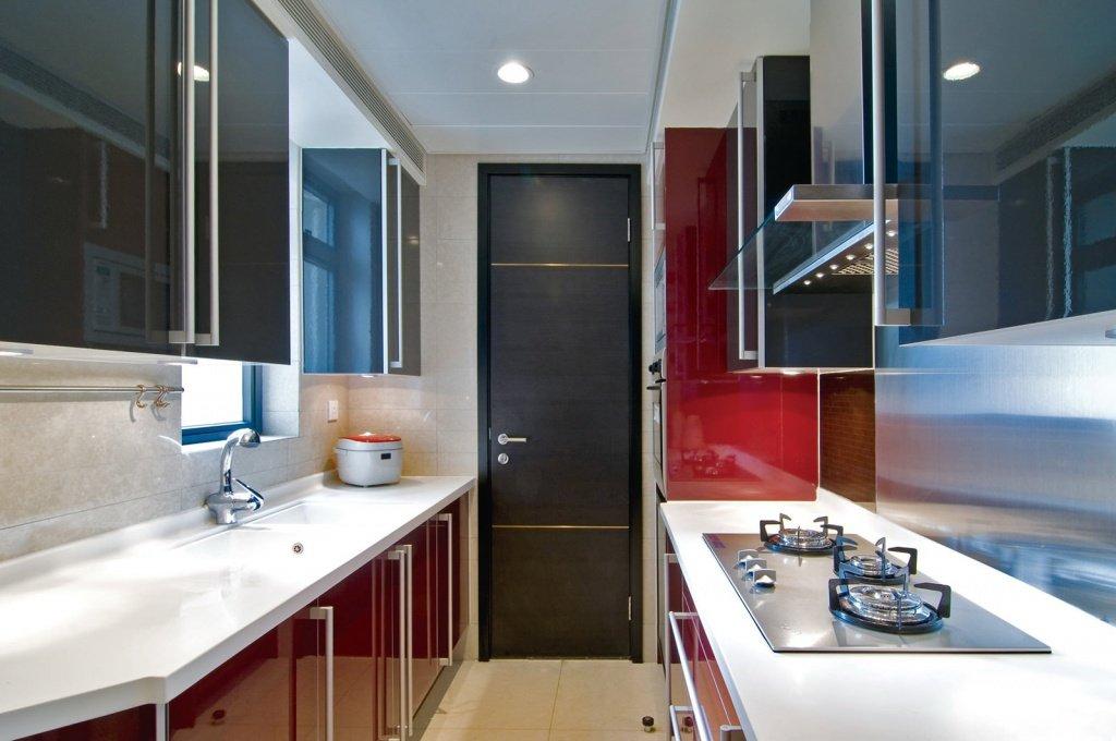 Successful color combination for red, black white narrow kitchen design