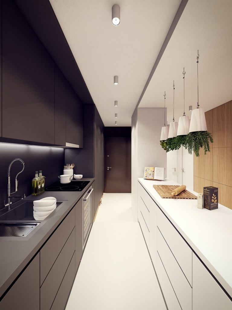 Modern kitchen design with black and white color combination