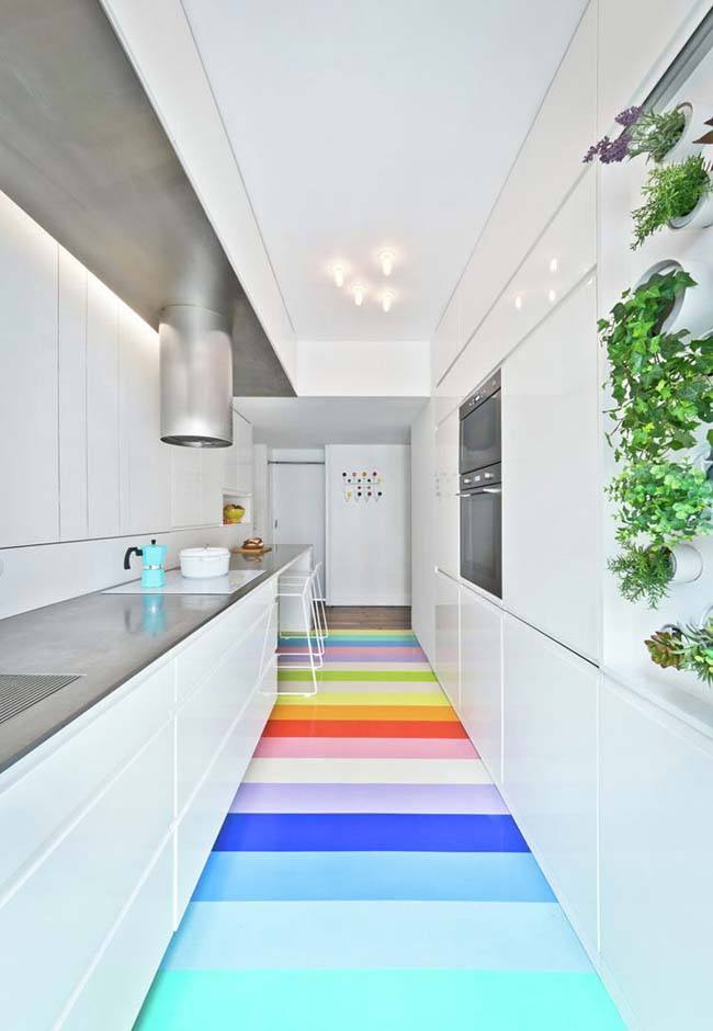 Ultramoderm design in white for the narrow kitchen with rainbow colored floor