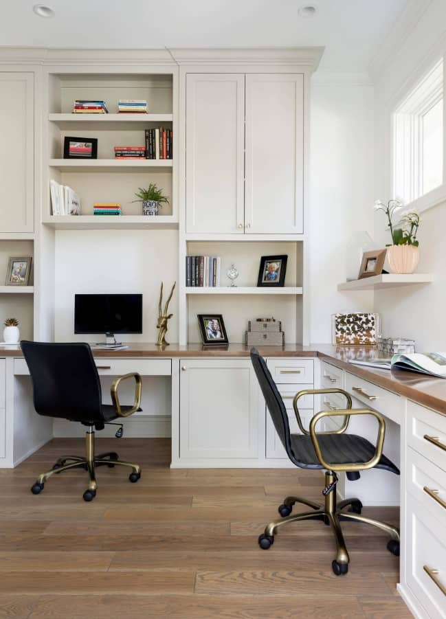 4 Tips to Create a Productive Office Space. Nice classic design idea for two work seats in white color scheme