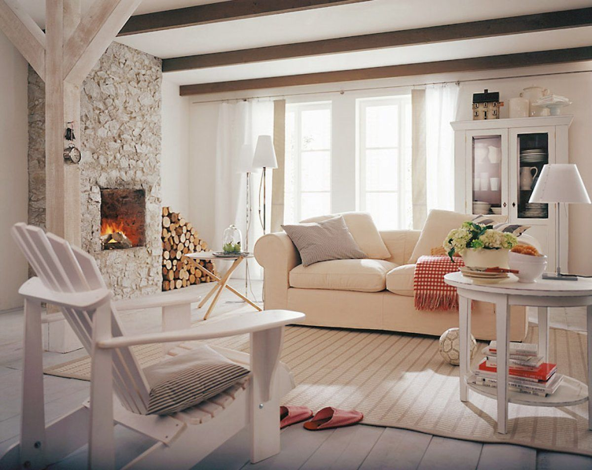 Totally white rustic living room interior with Scandinavian strictness