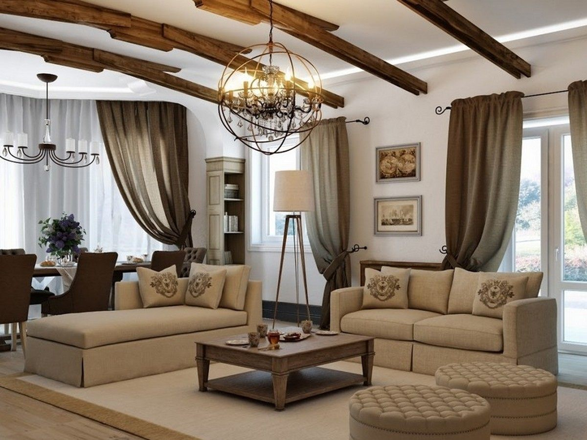 Country Style Living Room Design: Cozy and Romantic Atmosphere. Exposed and contrasting dark wooden ceiling beams for brown colored room with white walls