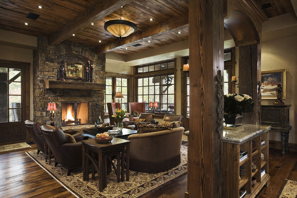 Epic chalet interior full of wood and stone
