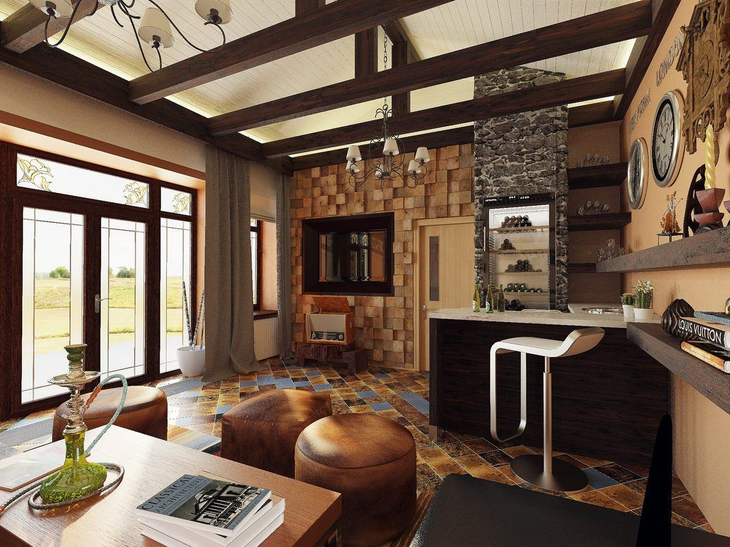 Noble classic living room design in country style and brown palette