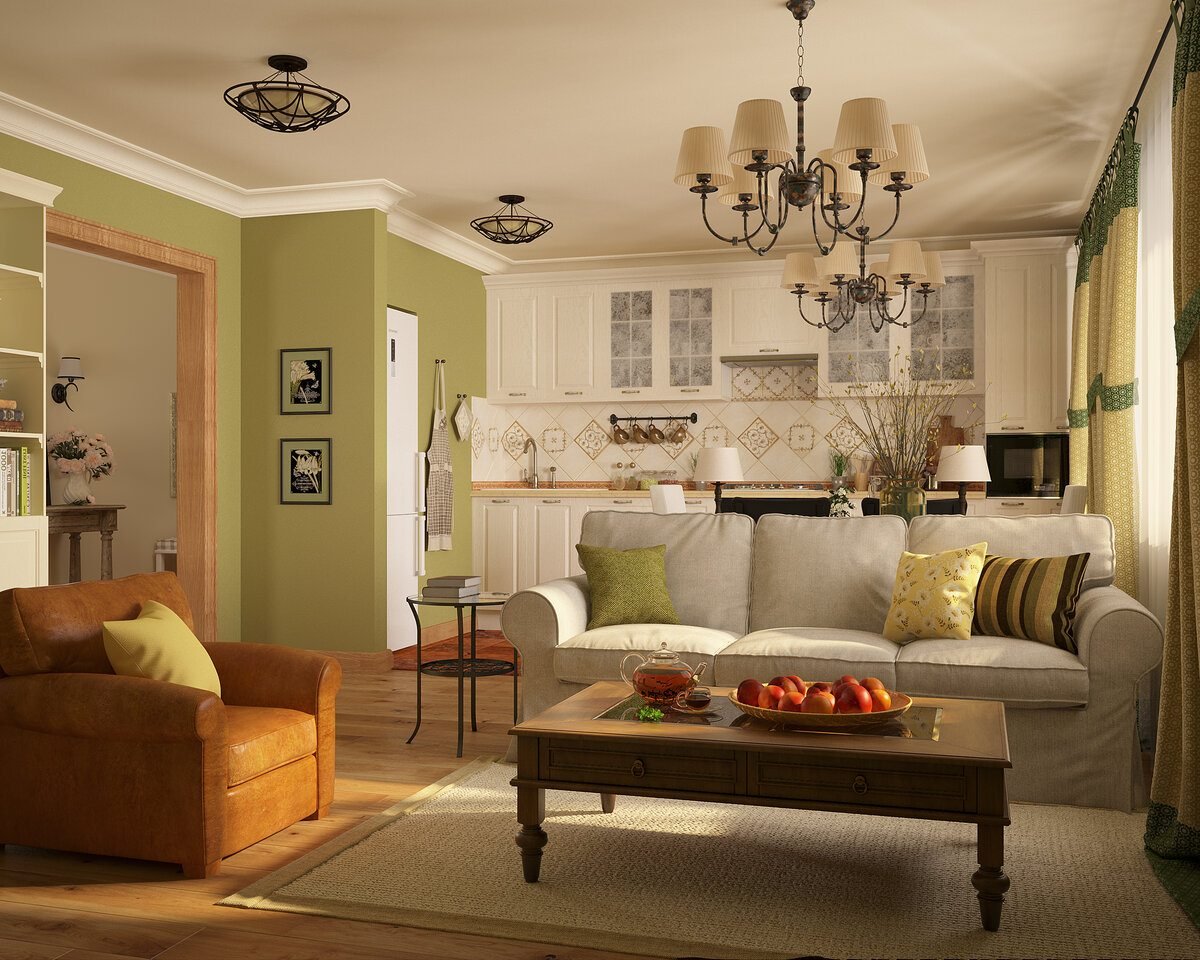 Living room in country style with pistachio walls