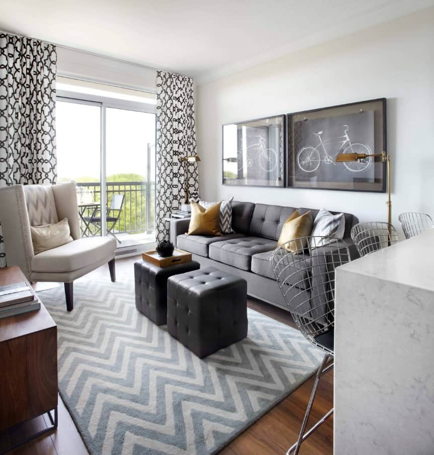 Tips for Designing Your Condo. Great wavy decor and gray color theme for furniture
