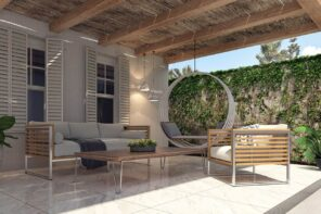 How To Create A Functional Patio Space. Barn styled decoration with open ceiling beams and wooden furniture