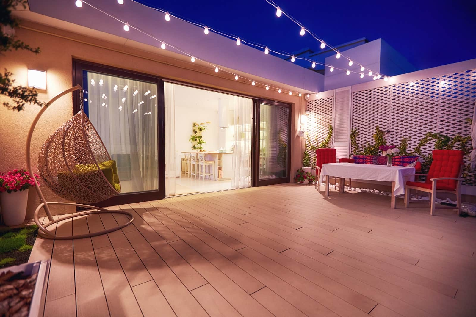 How To Create A Functional Patio Space. Illumination of the modern styled patio deck of light wood