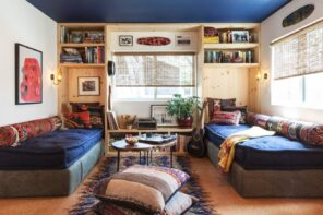 Small apartment with common room for students deisgned in blue