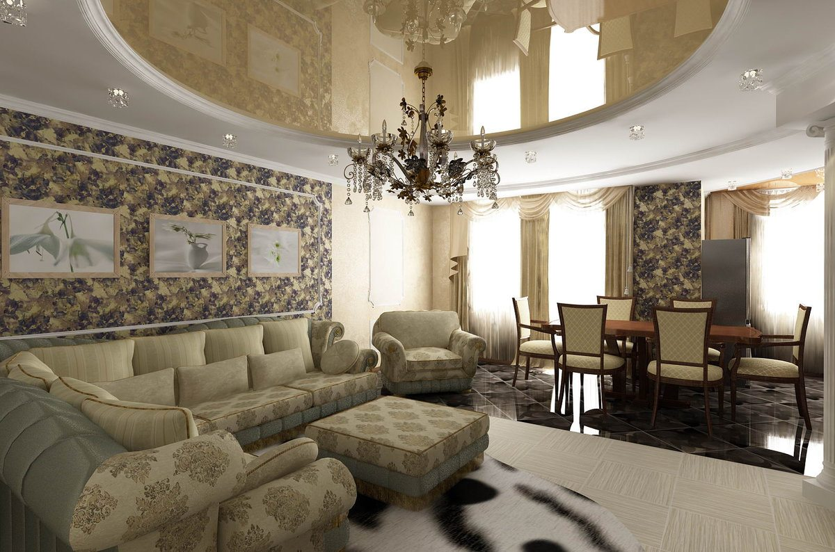 Classic living room with patterned wallpaper and stretch ceiling