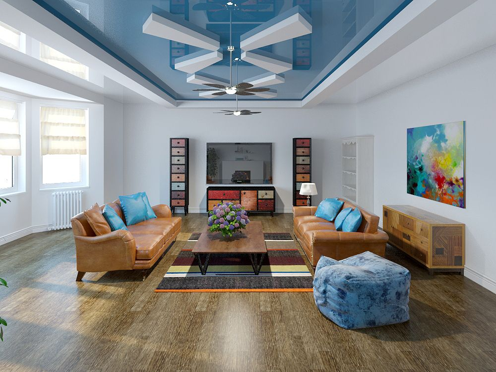 Lighweight living room atmosphere with blue ceiling and light oak laminated floor