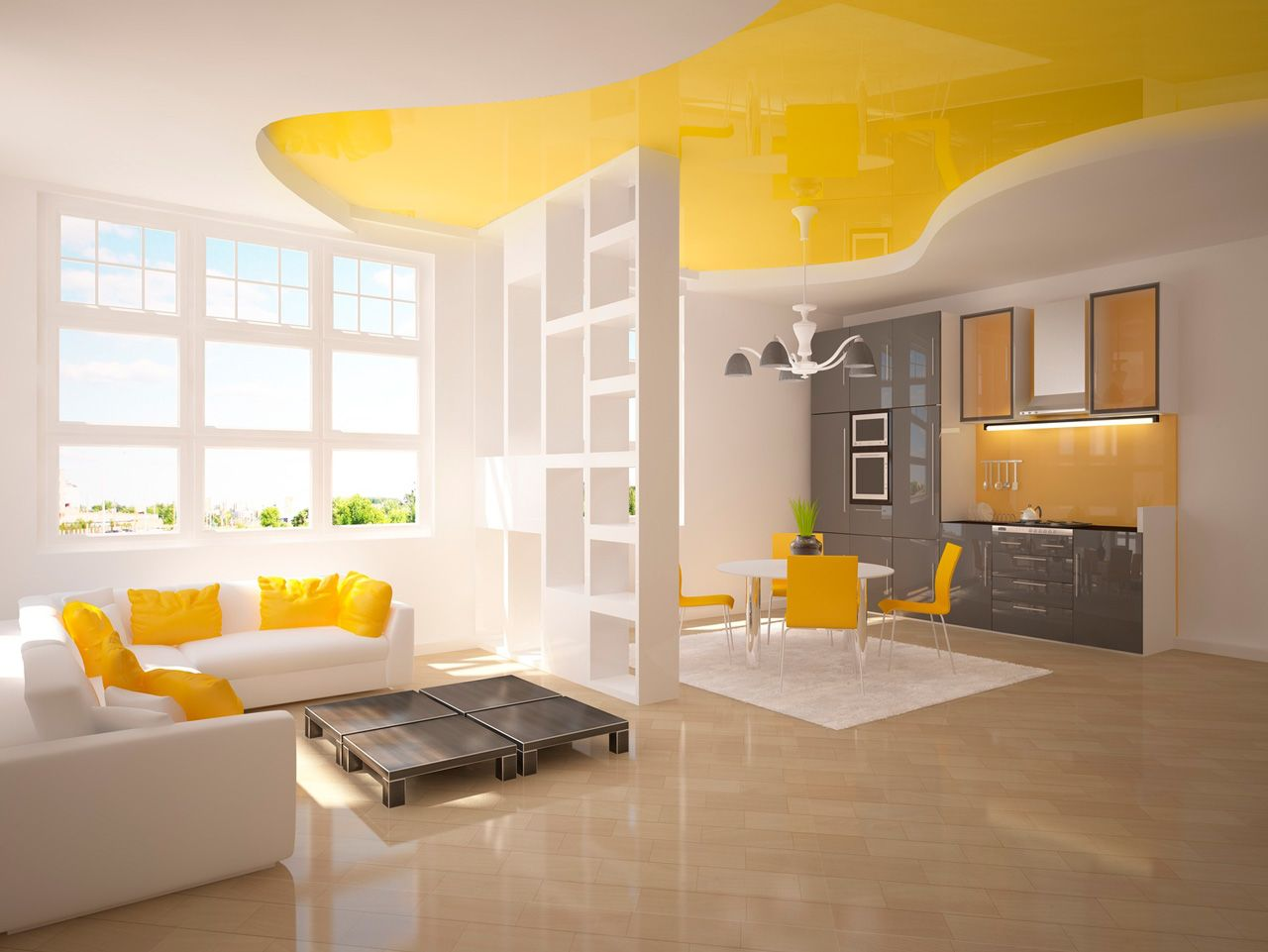 Yellow design of the ceiling stretch inlay and pastel color theme for living room