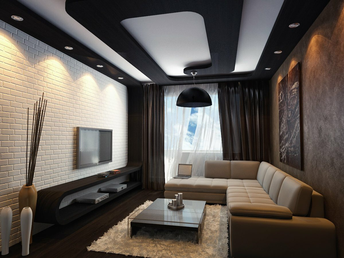 Great modern black and white solution to decorate modern designed living room