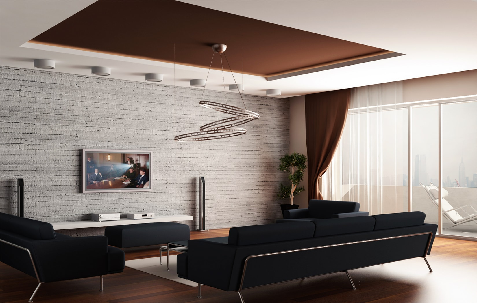 Modern living room interior design with stone cladded accent wall and black sofa